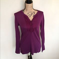 EddieBauer knit front pleats w/ metal buttons  Worn once light weight Please ask for additional pictures, measurements, or ask questions before purchase.  No trades or other apps  Ships next business day, unless noted in my closet   Bundle for discount Eddie Bauer Tops Tees - Long Sleeve