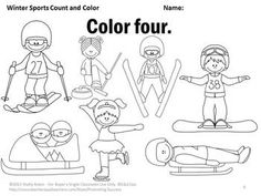 Number Words Worksheets, Winter Sports Theme, Kindergarten Math Coloring Pages – Pin's Page Kindergarten Special Education, Kindergarten Social Studies, In Kindergarten, Theme Sport, Olympic Idea, Olympic Crafts, Winter Activities For Kids, Coloring Pages, Coloring Worksheets