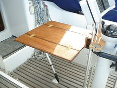 Stuart Carr enables onboard alfresco dining with a table mounted on the binnacle Sailboat Restoration, Boat Organization, Boat Table, Ranger Boats, Boat Projects, Yacht Interior, Diy Boat, Diy Store, Boat Stuff