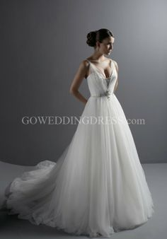 Ball Gown Sweetheart Floor Length Attached Tulle Beading Wedding Dress Style 8461