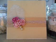 Invitation by Invitations Boutique  #lace, #ribbon, #flowers, #feathers, #pearls