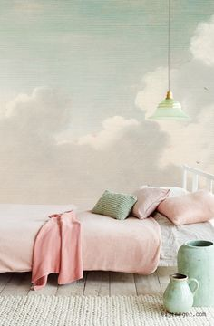 Eijffinger Masterpiece Dutch Sky Stripes Jade 358121 at Wallpaperwebstore So peaceful! I'd love this I n the reading corner or the living room accent wall. Home Bedroom, Girls Bedroom, Bedroom Decor, Wall Decor, Serene Bedroom, Pastel Bedroom, Cloud Bedroom, Nature Bedroom, Wall Paper Bedroom
