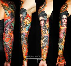 Tattoo by Adriaan Machete at Machete Death Gallery in Berlin, Germany Sleeve Tattoos, Body Art, Stockings, Ink, Berlin Germany, Tattoo Art, Death, Gallery, Tattoo Sleeves