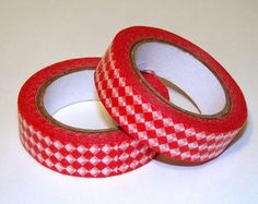 Washi Tape Roll Red Diamonds Checkers Papercraft Stationery Deco 15mm x 10m
