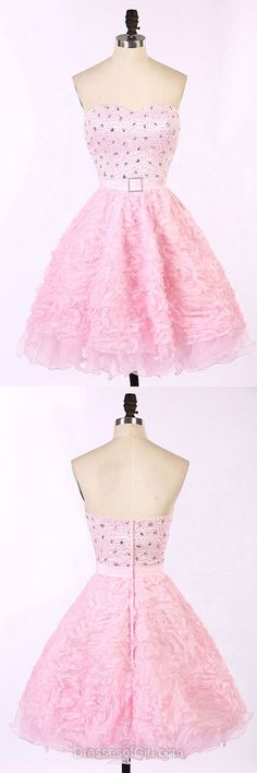 Baby Pink Prom Dresses, Sweetheart Formal Dresses, Short Evening Dresses, Tulle Homecoming Dresses, Beaded Graduation Dresses