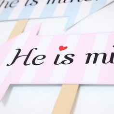 She is mine/He is mine フォトプロップス - フォトプロップス・ケーキトッパー・結婚式小物販売 | EYMwedding