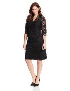 Karen Kane Women's Plus-Size V-Neck Lace Dress, Black, 2X