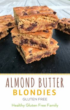 Up your blondie game with Almond Butter and Almond Flour. Like a soft baked cookie, only better. Moist, Chewy and the perfect amount of almond butter and chocolate-y goodness! Recipe adapted from Eating Well Magazine. Made with Barney Butter Almond Butter and Almond Flour. Sponsored by Barney Butter. #glutenfree