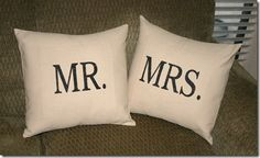 No sew Mr. & Mrs. pillows - my kind of project!