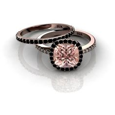 3.00 carat Morganite and Black diamond Halo Bridal Set in 10k Rose... ($500) ❤ liked on Polyvore featuring jewelry, rings, black diamond ring, engagement rings, brides ring, bridal rings and rose gold bridal jewelry