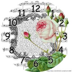 "Photo from album ""винтажные открытки"" on Yandex. Decoupage Vintage, Decoupage Paper, Rose Vintage, Vintage Flowers, Scrapbook Paper, Scrapbooking, French Illustration, Music Paper, Diy Clock"