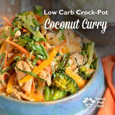My recipe for Low Carb Crock-Pot Coconut Curry is so flavorful & delicious! This curry can be served like a soup or you can also serve it over kelp noodles.