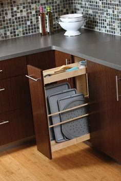 Ideas modern kitchen, storehouse of practical storage solutions Pull-out shelves, smaller and higher storage devices