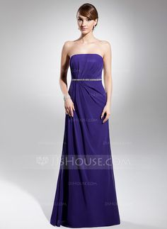 A-Line/Princess Strapless Floor-Length Chiffon Evening Dress With Ruffle Beading (017014732)