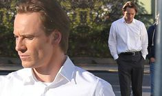 Michael Fassbender as Steve Jobs on the set of the new film
