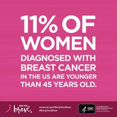 Women under age 45 can and do get breast cancer. Find out more from CDC's #BringYourBrave. #BreastCancerAwareness