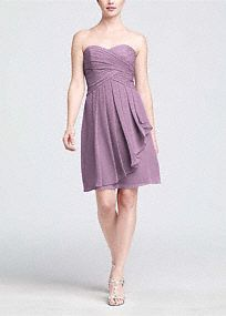 On trend and ultra feminine, this strapless style is great for a bridesmaid and offers plenty of wear-again potential!  Ruching detail shapes a stunning sweetheart neckline that flatters any body type.  Crinkle chiffon flows to create a front cascade that adds dimension and romance.  Short silhouette is versatile and chic making this style a closet staple.  Fully lined. Back zip. Imported polyester. Dry clean only.   Get inspired by our colors. Sizes and colors are available in limited sto…