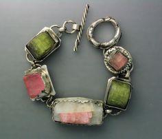Natural Tourmaline Crystal Bracelet by Temi on Etsy