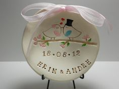 Wedding Ring bearer bowl dish - Bride and groom love birds personalized by Wise Impressions. $15.00, via Etsy.