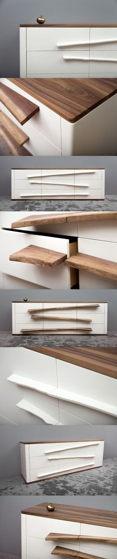 Niagara Dresser. The SENTIENT Niagara Dresser is a stunning contemporary white dresser with unique angled sculpted live edge drawer pulls. The stunning 'white on white' design is accented with a solid walnut hardwood top and base. The geometric design is softened with gentle curved corners. The cabinet and handles are made using a manmade solid surface product typically used for counter top applications. This material is extremely strong, stable and durable that will stand the test of time.