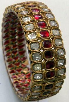 Diamond and Ruby Bangle Ruby Bangles, Kundan Bangles, Gold Bangles, Bangle Bracelets, Diamond Bangle, Diamond Jewelry, Gold Jewelry, Jewelery, Diamond Necklaces