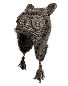 74b06a47014 ANNA SUI Owl Hat in Light Brown Metallic Knitted Owl