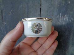 Soviet Vintage Porcelain Small Dish / Ramekin; Mini Serving Bowl with Golden Rims and Soviet Russian Travel Agency Интурист (Intourist) Logo
