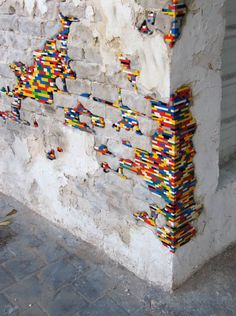 It's good to see that Jan Vormann is still, after all these years, working his magic with Legos. The German artist uses everyone's favorite childhood toy blocks to repair damaged walls, chipped columns and crumbled corners all over the world. The first time we discovered his work was in 2010 and six years later, his Lego installations still bring smiles to our faces. I hope he keeps at it and that I'm lucky enough to one day, stumble upon his happy patches in person.