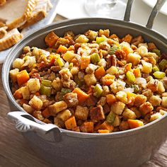 Sweet Potato Stuffing Recipe For our holiday gatherings, slow cook this tasty sweet potato dressing in addition to the traditional stuffing cooked inside the turkey. Crock Pot Slow Cooker, Crock Pot Cooking, Slow Cooker Recipes, Cooking Recipes, Healthy Recipes, Crockpot Meals, Yummy Recipes, Thanksgiving Side Dishes, Thanksgiving Recipes