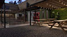 Arquitectura gastronómica con personalidad – Cervecería Patagonia – Estudio BG+A | Espacio Tradem Palermo, Patio Grande, Patio Central, Toscana, Patagonia, Beer, Outdoor Decor, Design, Home Decor