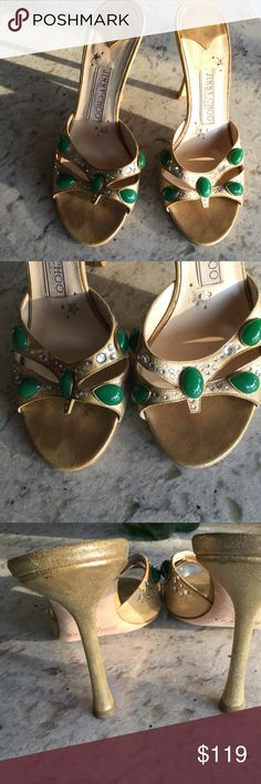 Jimmy Choo boutique gold heels. JImmy Choo London. Made in Italy. Gold with green and crystal stones. 4 inch heels. Jimmy Choo Shoes Heels