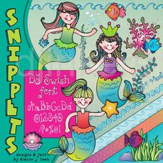 Mermaid clip art, cute mermaids, mermaid scrapbook, mermaid girls, ocean clip art