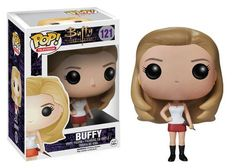 It's Buffy Summers, as portrayed by Sarah Michelle Geller, from the television series Buffy The Vampire Slayer (1997 - 2003). She's stylized as a Funko Pop! Vinyl figure that stands about 3 3/4-inches tall and comes in a collectible window box. In the television series, Buffy fights against evil creatures in a small town that is built on top of a portal to hell (Hellmouth), and gets help in her battle from a close group of friends -  the Scooby Gang. #nesteduniverse