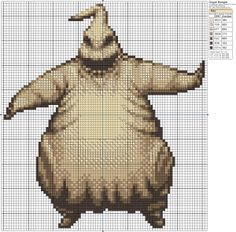 What better way to mark the 28th day until Halloween than with the creepiest burlap bag I've ever seen? Today's pattern is Oogie Boogie!
