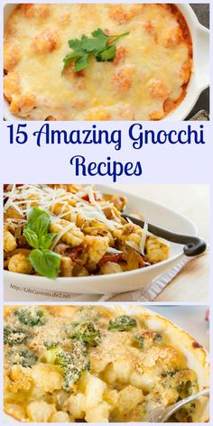 15 Amazing Gnocchi Recipes that will make your life a whole lot yummier.  Fast, easy, healthy, homemade, cheesy, tomato sauce, soup, casserole.