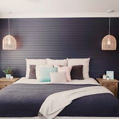 Our Hampton Style Forever Home: hamptons style new build Pendant Lighting Bedroom, Bedside Pendant Lights, Bedside Lighting, Die Hamptons, Hamptons Bedroom, Interior Paint Colors For Living Room, California Bedroom, Modern Country Style, Guest Bedrooms