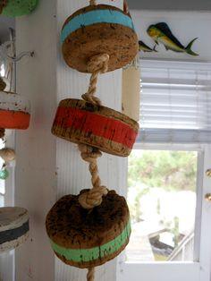 Nautical Buoys. Beach Cottage Decor. Cork Buoys. Assorted Stripes. Beach. Gift Idea. Nautical Decor for Coastal Living by searchnrescue2