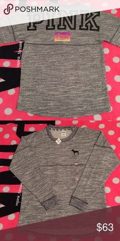 VS PINK Varsity Crew Sweater New with tags. Oversized fit. Gray marl color. PINK logo on back in black and In rainbow ombre. Mini dog on front.  No trades. I accept reasonable offers  I have this listed for less on Ⓜ️ercari Use code FWXENR when you sign up for $2 off first purchase  Search vspink_forsale to find my closet  PINK Victoria's Secret Sweaters