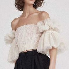 Strapless Shirt For Women Off Shoulder Embroidery Ruffles Flare Sleeve Sexy Short Tops Summer Fashion 2019 Clothing Fashion 2018, Look Fashion, Fashion Outfits, Womens Fashion, Fashion Design, Fashion Trends, Fashion Clothes, Latest Fashion, High Fashion