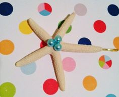Starfish Hairclip with trio of Mint Beadson Bobby Pin...Beach Wedding Hair Clip