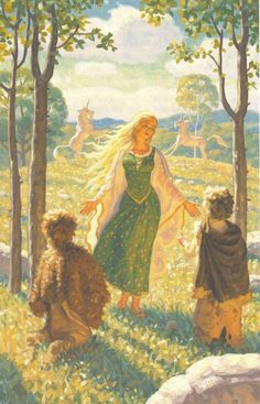 There on the hill-brow she stood beckoning to them: her hair was flying loose, and as it caught the sun it shone and shimmered. A light like the  glint of water on dewy grass flashed from under her feet as she danced.