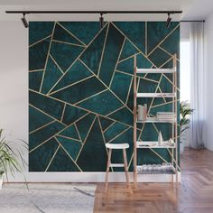 Deep Teal Stone Wall Mural by Elisabeth Fredriksson - X Diy Wall, Wall Decor, Geometric Wall Paint, Wall Design, House Design, Removable Wall Murals, Teal Walls, Copper Wall, Mural Wall Art