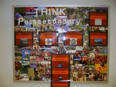 bulletin board showing students possible choices for postsecondary education: community college, vocational school, military, and college. Advanced studies also included on the board (grad school)