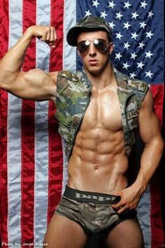 Buffed Shirtless Hunk Covered In The Us Flag Patriotic