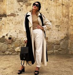 Long coat worn with tee, pant, scarf, heeled sandals and beret | Photo shared by Tamera | For more style inspiration visit 40plusstyle.com