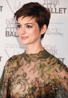 Anne Hathaway pixie cut - Pixie Haircut for Round Face for Confident and Youthful Look: Hair