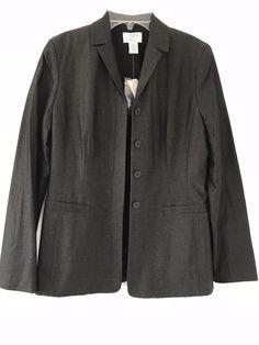 1dca34d46ee7 ANN TAYLOR LOFT NWT Women Brown Black Gold Jacket Blazer Size 4 Cotton   AnnTaylorLOFT