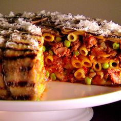 Pasta Recipes, Vegan Recipes, Dinner Recipes, Cooking Recipes, Timbale Recipe, Grilled Eggplant, Eggplant Recipes, Frozen Peas, International Recipes