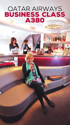 Lounge Bar in the sky | Review: Qatar Airways Business Class A380 Doha to Atlanta Inaugural Flight | via @Just1WayTicket