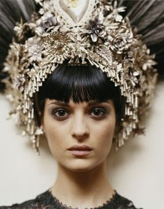 Crown Headdress - The Art Dealers Association of America Foto Fantasy, Pelo Vintage, Fru Fru, Glamour, Head Accessories, Couture Accessories, Turbans, Tiaras And Crowns, Headgear